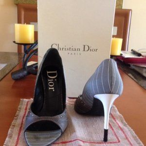 Christian Dior Gray Leather Open Toe Pump Women
